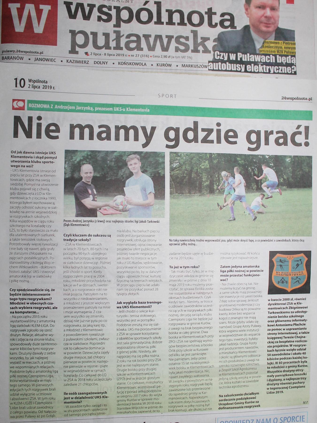 Wspólnota Puławska nagłaśnia problem boisk w Klementowicach